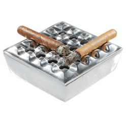 Square Grid Ashtray  Pewter