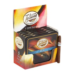 "Tatiana Flavored Tins Rum (Cigarillos) (3.5""x26) Pack of 50"